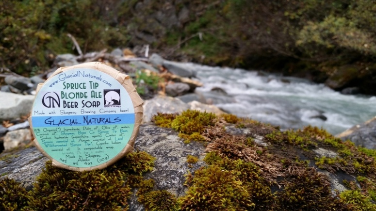 Spruce Tip Beer Soap at creek